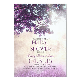 Purple old oak tree & love birds bridal shower 5x7 paper invitation card