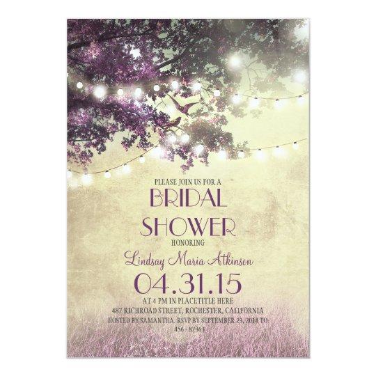 purple old oak tree love birds bridal shower invitation