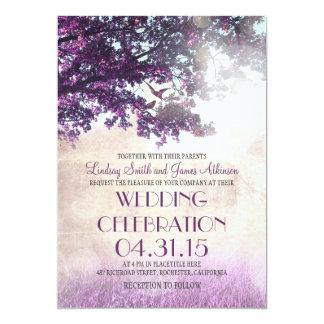 Beautiful Purple Old Oak Tree U0026amp; Love Birds Wedding Invites