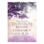 Purple old oak tree & love birds wedding invites announcements