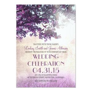 Purple old oak tree & love birds wedding invites 5