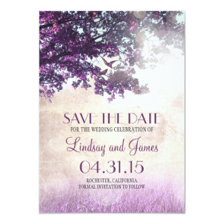 Purple old oak tree romantic save the date cards