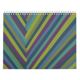 Purple & Olive Green Abstract Mod Striped Calendar