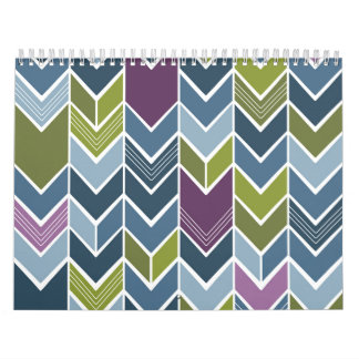 Purple & Olive Green Chevron Arrow Mod Abstract Calendar