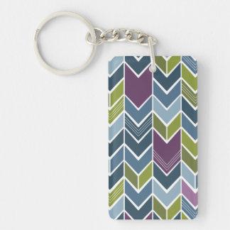 Purple & Olive Green Chevron Arrow Mod Abstract Keychain