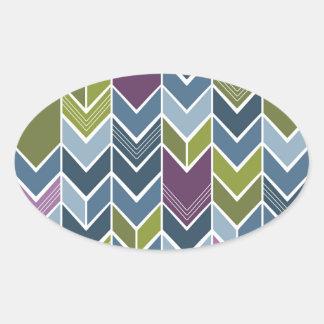 Purple & Olive Green Chevron Arrow Mod Abstract Oval Sticker