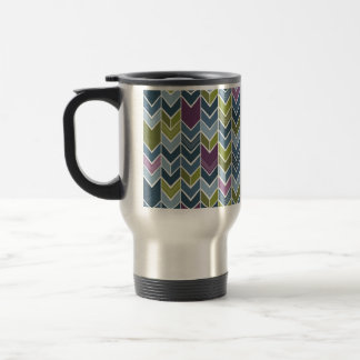 Purple & Olive Green Chevron Arrow Mod Abstract Travel Mug