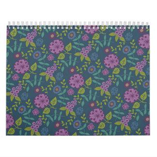 Purple Olive Green Mod Floral Flower Print Calendar
