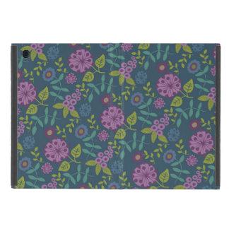 Purple Olive Green Mod Floral Flower Print iPad Mini Cover