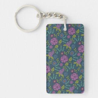Purple Olive Green Mod Floral Flower Print Keychain