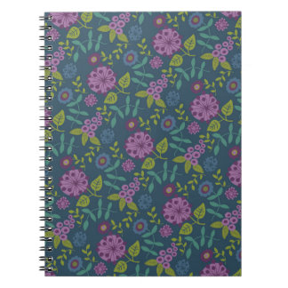 Purple Olive Green Mod Floral Flower Print Notebook