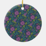 Purple Olive Green Mod Floral Flower Print Christmas Ornaments