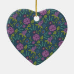 Purple Olive Green Mod Floral Flower Print Christmas Tree Ornaments