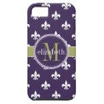 Purple Olive Green White Fleur de Lis Monogram iPhone 5 Case