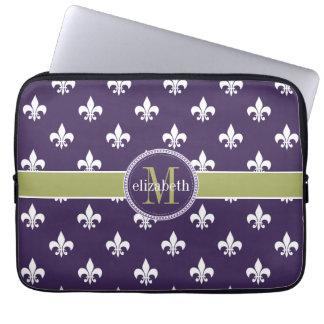 Purple Olive Green White Fleur de Lis Monogram Computer Sleeve
