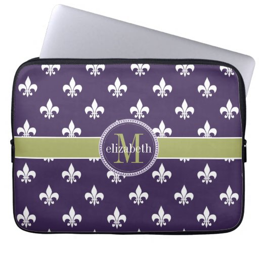Purple Olive Green White Fleur de Lis Monogram Laptop Sleeve