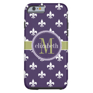 Purple Olive Green White Fleur de Lis Monogram Tough iPhone 6 Case