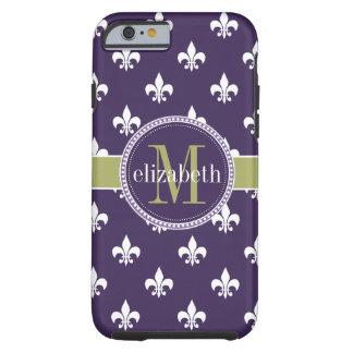 Purple Olive Green White Fleur de Lis Monogram Tough iPhone 6 Case