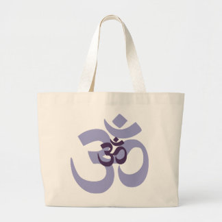 Purple Om Aum hindi design for yoga & meditation Large Tote Bag