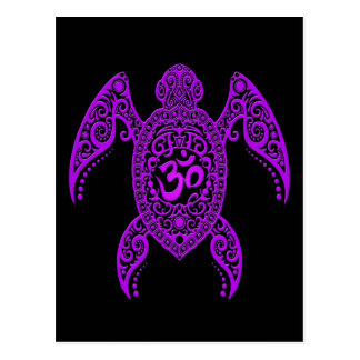 Purple Om Sea Turtle on Black Postcard