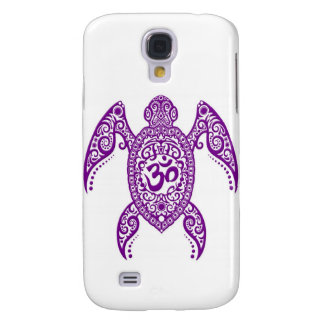 Purple Om Sea Turtle on White Galaxy S4 Cases