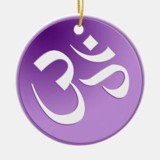 Purple Om Symbol Ceramic Ornament
