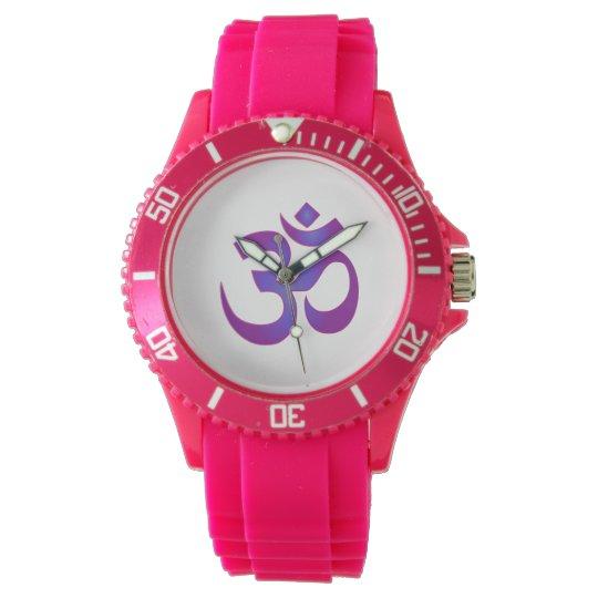 Purple Om Symbol Yoga Meditation Zen Wristwatch