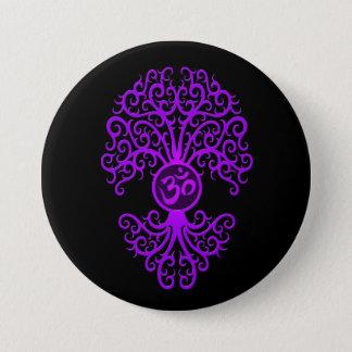 Purple Om Tree on Black Button