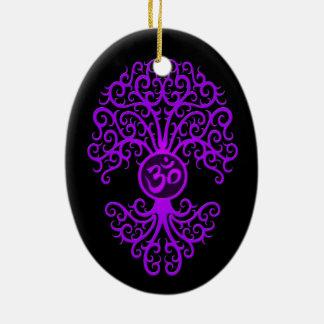 Purple Om Tree on Black Ceramic Ornament
