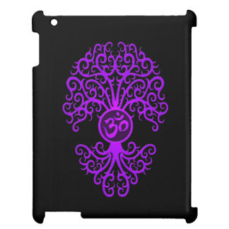 Purple Om Tree on Black iPad Covers