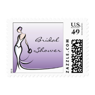 Purple Ombre Bridal Shower Postage Stamps
