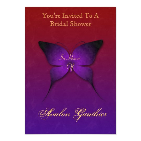 Purple Ombre Butterfly Bridal Shower Invitation