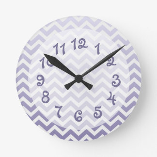Purple Ombre Chevron Round Clock