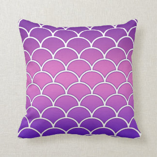 Purple Ombre Effect Japanese Wave Pattern Pillow