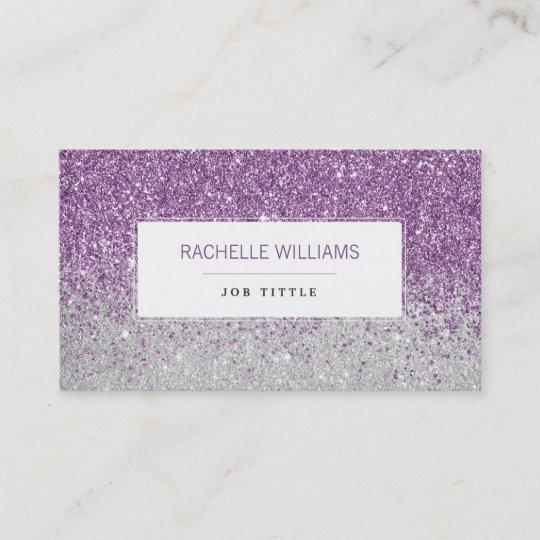 Purple Ombre Glitter Business Card