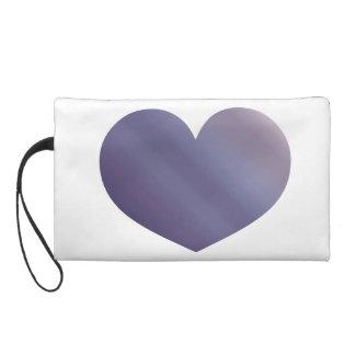 Purple Ombre Heart Watercolor Dip Dyed Color Wristlet Purses