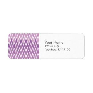 Purple Ombre Ikat Chevron Zig Zag Stripes Pattern Label