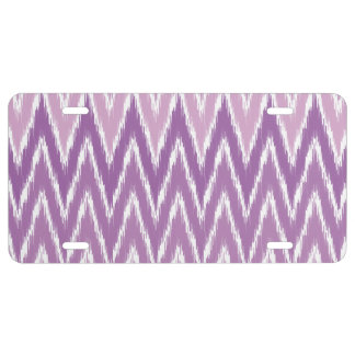 Purple Ombre Ikat Chevron Zig Zag Stripes Pattern License Plate