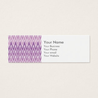 Purple Ombre Ikat Chevron Zig Zag Stripes Pattern Mini Business Card