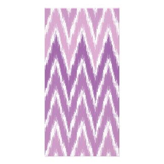 Purple Ombre Ikat Chevron Zig Zag Stripes Pattern Custom Photo Card