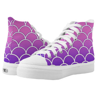 Purple Ombre Japanese Wave Pattern High-Top Sneakers