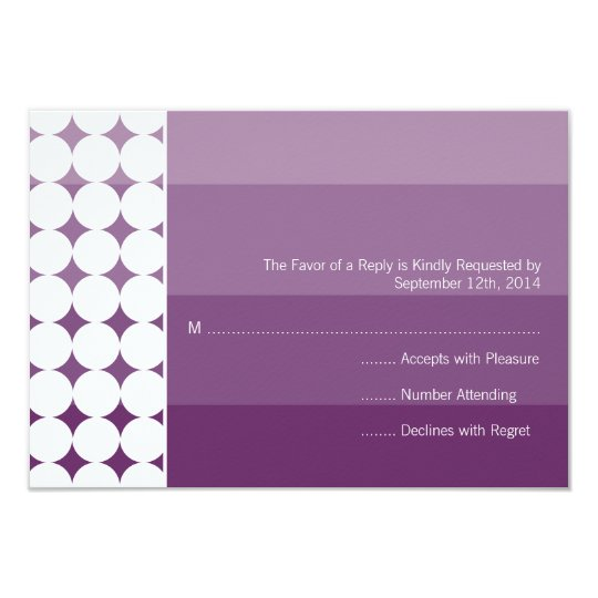 Purple Ombre Modern Modern Wedding RSVP Card
