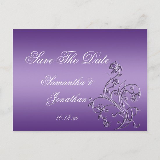 Purple Ombre Ornate Floral Swirls Save The Date Announcement Postcard