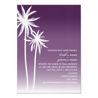Purple Ombré Palm Trees Beach Wedding Custom Invitation