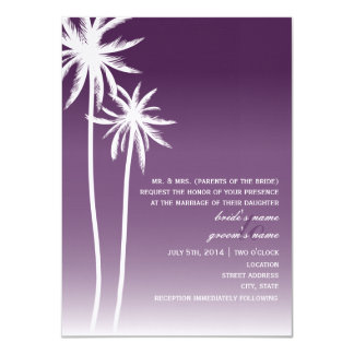 Purple Ombré Palm Trees Beach Wedding Personalized Invitations