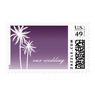 Purple Ombré Palm Trees Beach Wedding Stamp