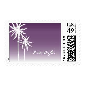 Purple Ombré Palm Trees Beach Wedding R.S.V.P. Stamp