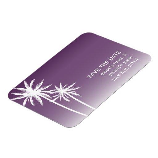 Purple Ombré Palm Trees Wedding Save The Date Rectangular Photo Magnet