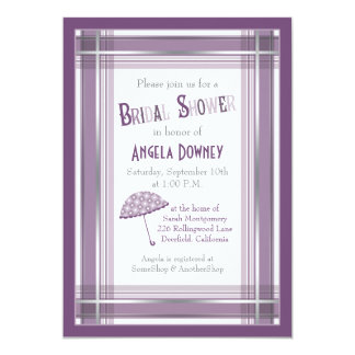 Purple Ombre Plaid Umbrella Bridal Shower Card