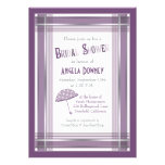 Purple Ombre Plaid Umbrella Bridal Shower Personalized Invites